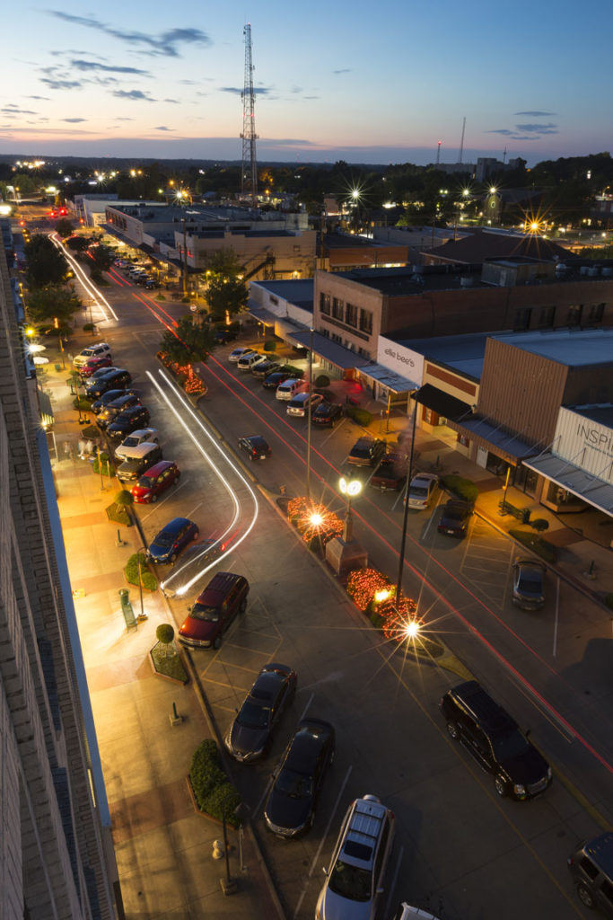 Downtown Longview at night. Photo credit: Bryan Boyd.
