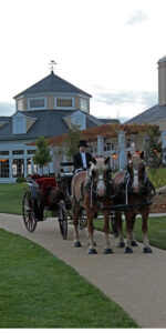 A horse-drawn carriage wedding is an option at the Salamander Resort and Spa.
