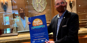 Staff at the Riverside Hotel in Fort Lauderdale, Fla., show their support for Visit Lauderdale's Safe + Clean Pledge.