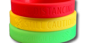 Social Bands are wristbands which use a red, yellow, and green color scheme to allow wearers to silently indicate their social distancing preferences.