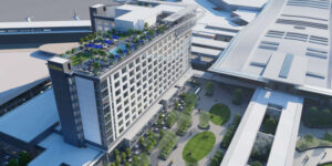 This is a rendering of the new Hilton hotel planned to open near Nashville International Airport (BNA) in late-2023.
