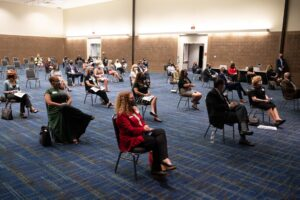 A socially-distanced meeting at New Orleans' Ernest N. Morial Convention Center.