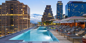 The design of the new Austin Marriott Downtown is inspired by its home city, with limestone and Texas cedar native to central Texas used throughout the hotel.