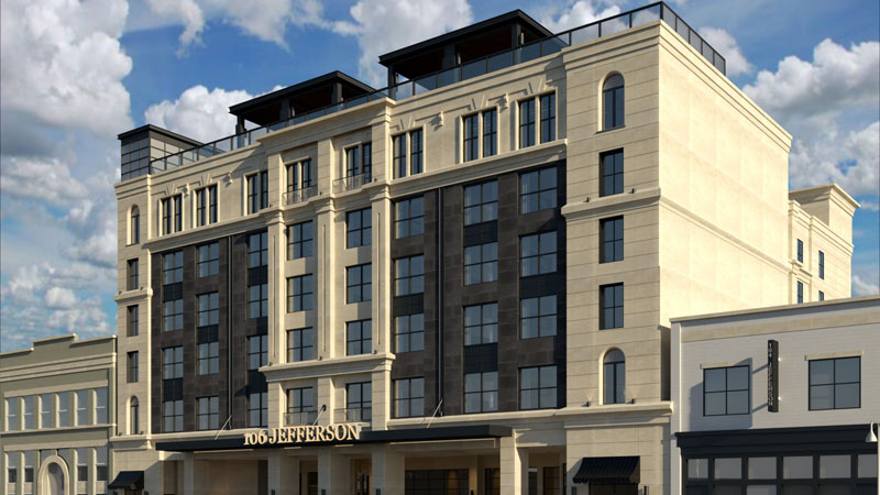 106 Jefferson is a 115-room boutique hotel with more than 2,000 square feet of meeting and event space set to open in Huntsville, Ala. this summer.