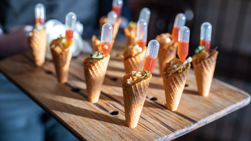 Chef's Market in Nashville, Tenn., has been finding unique ways to serve menu items, including individual cones containing a variety of fillings.