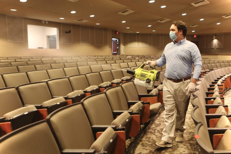 Sanitizing at the Oxford Conference Center in Oxford, Miss.