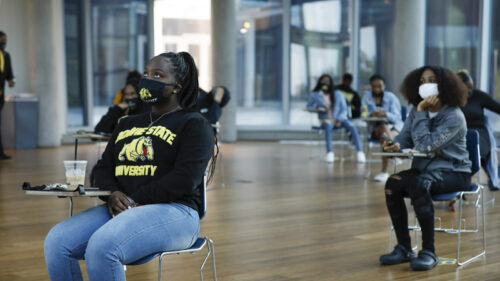 Bowie State University students gather to watch a virtual Freshman Matriculation Convocation ceremony.