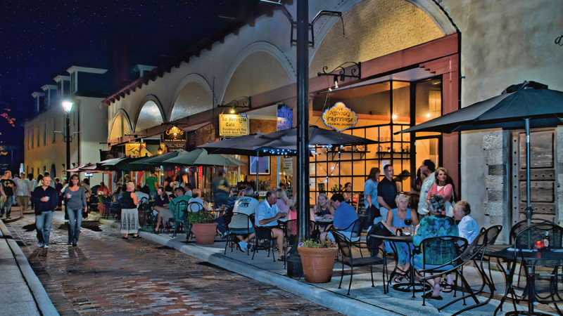 Aviles Street in downtown St. Augustine, Fla., showcases the European architecture of the nation's oldest city.