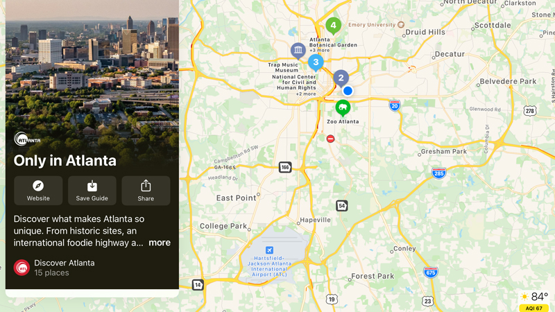 Discover Atlanta has published new Guides in Apple Maps, providing insight to travelers on the best experiences the city has to offer.