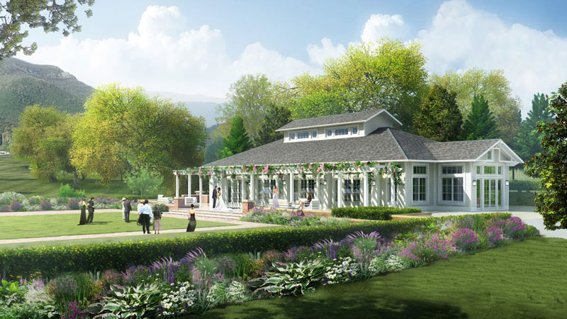 Omni Homestead Resort in Hot Springs, Va., is undergoing a $120 million, property-wide renovation. This rendering shows a planned new event pavilion.